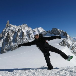 Celine skiing in the aiguille marbrees, chamonix.